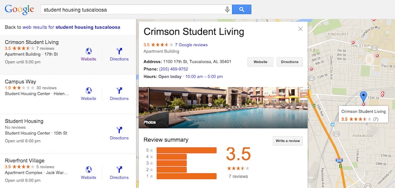 Tuscalooss student housing local search.