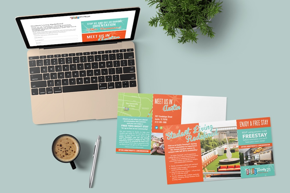 Direct Mail and Landing Page for Apartments