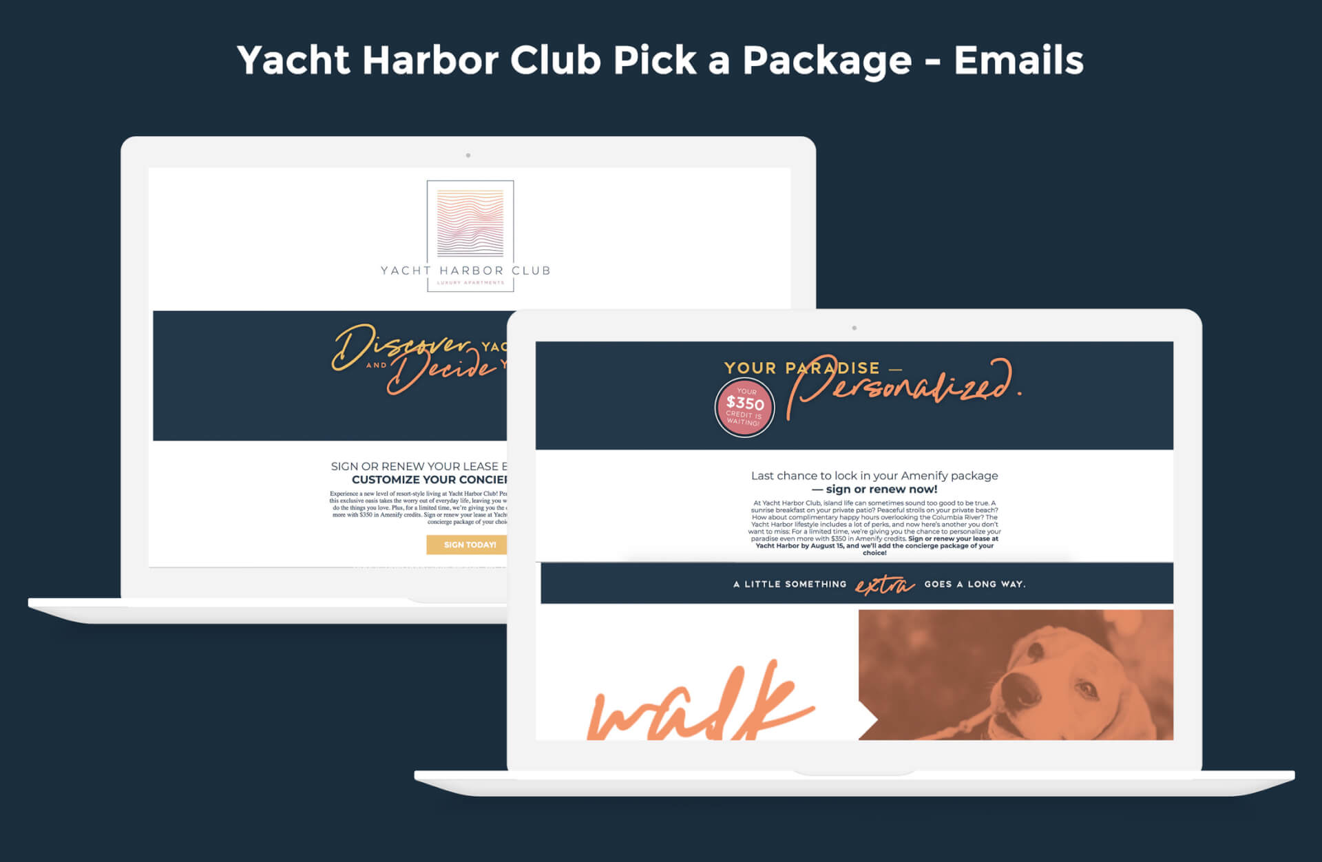 Yacht Harbor Club Pick-A-Package Emails Graphic