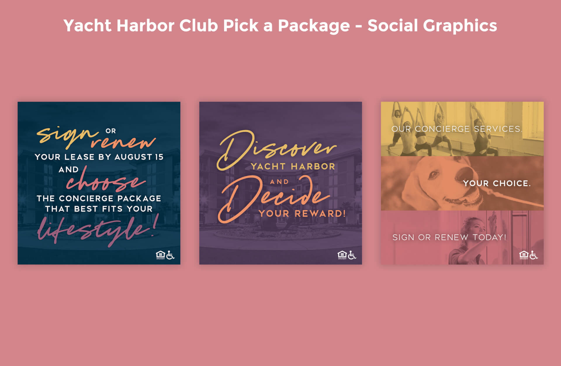 Yacht Harbor Club's Pick a Package Social Graphics