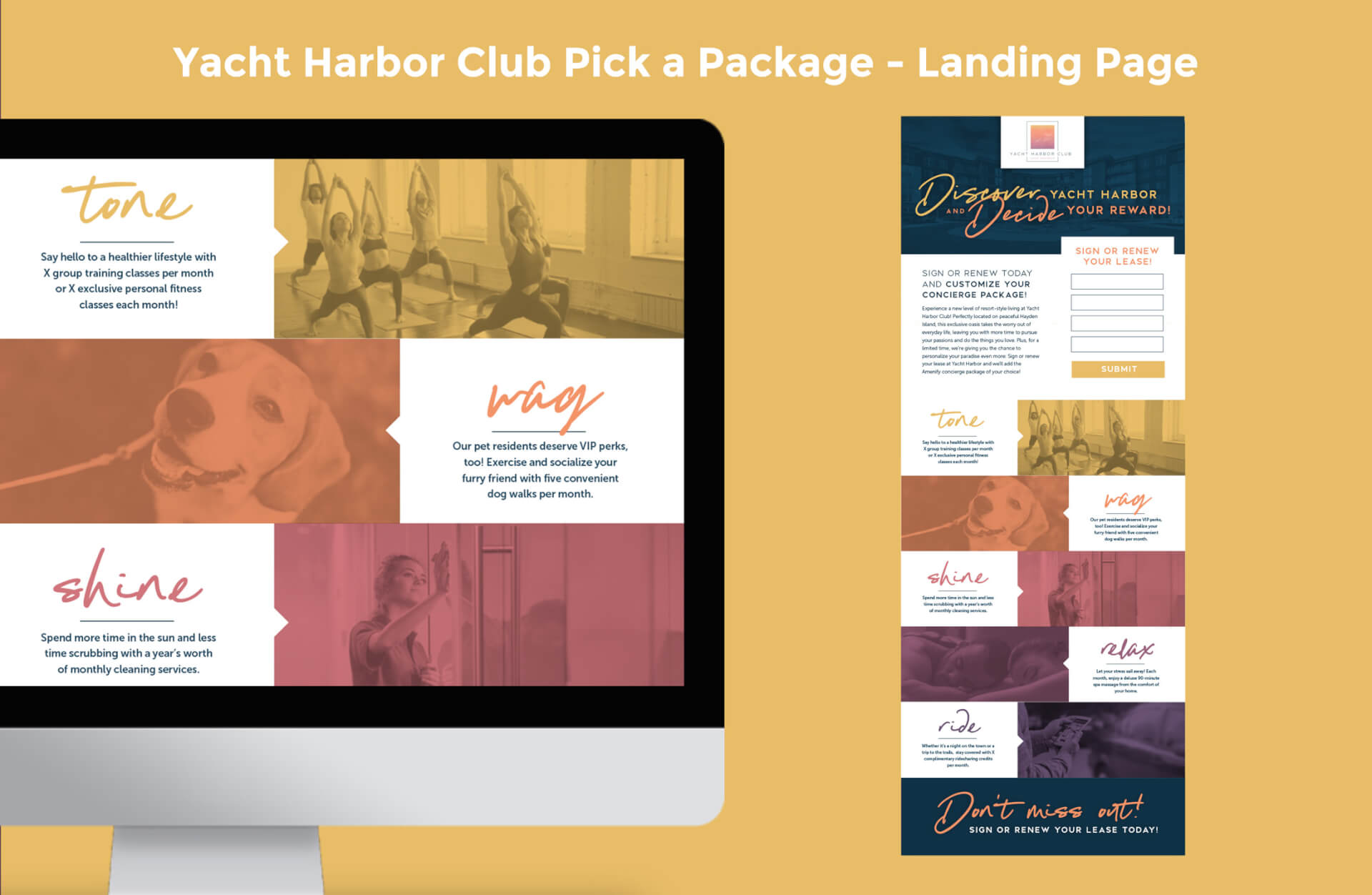 Yacht Harbor Club's Pick a Package Landing Page