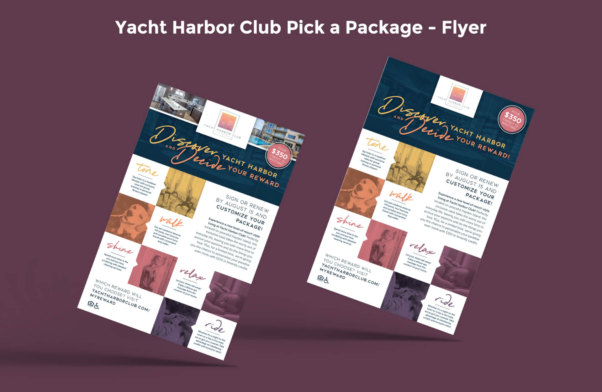 Yacht Harbor Club Pick-A-Package Flyer Graphic