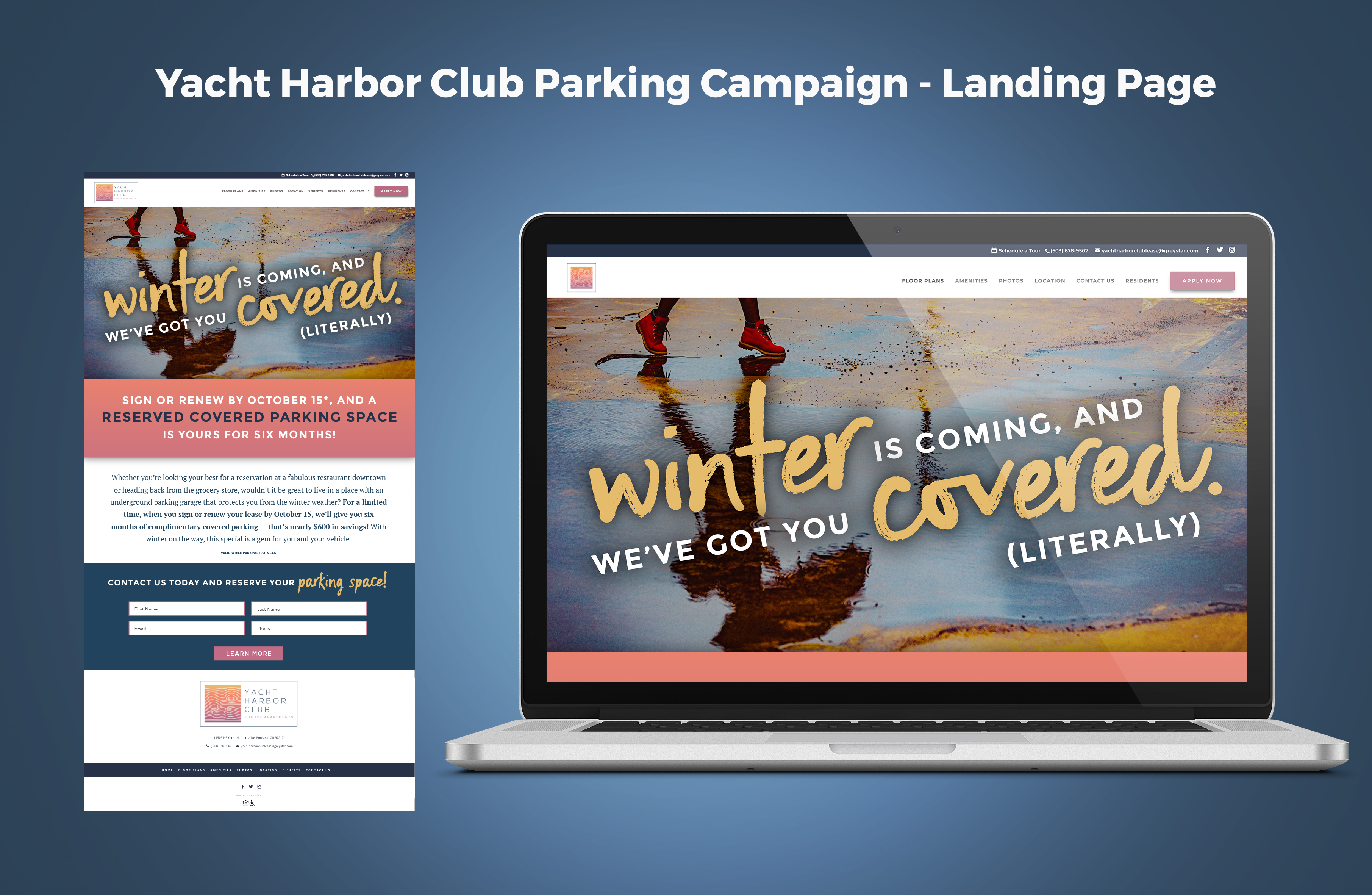 Yacht Harbor Club Parking Campaign Landing Page Graphic