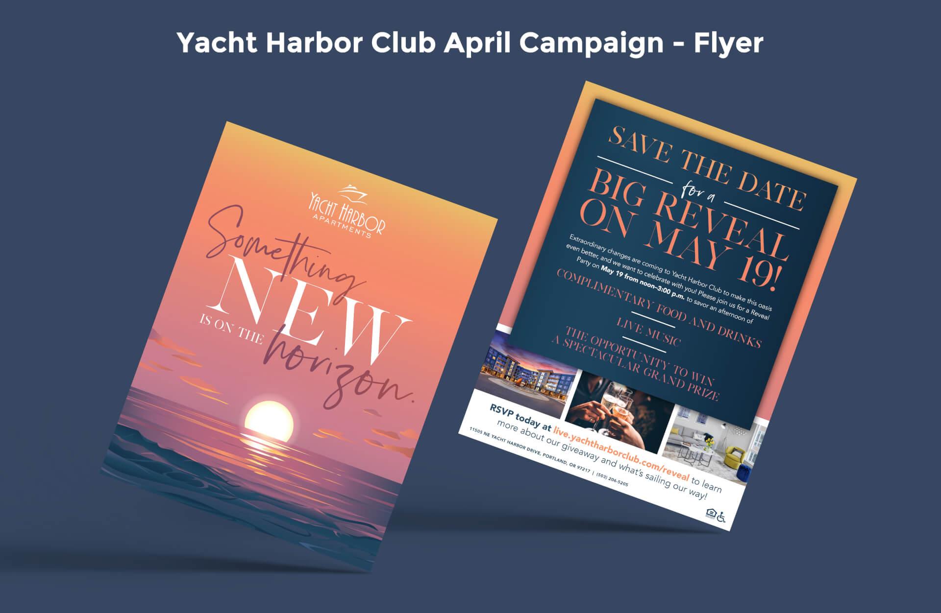 Yacht Harbor Club April Campaign Flyer