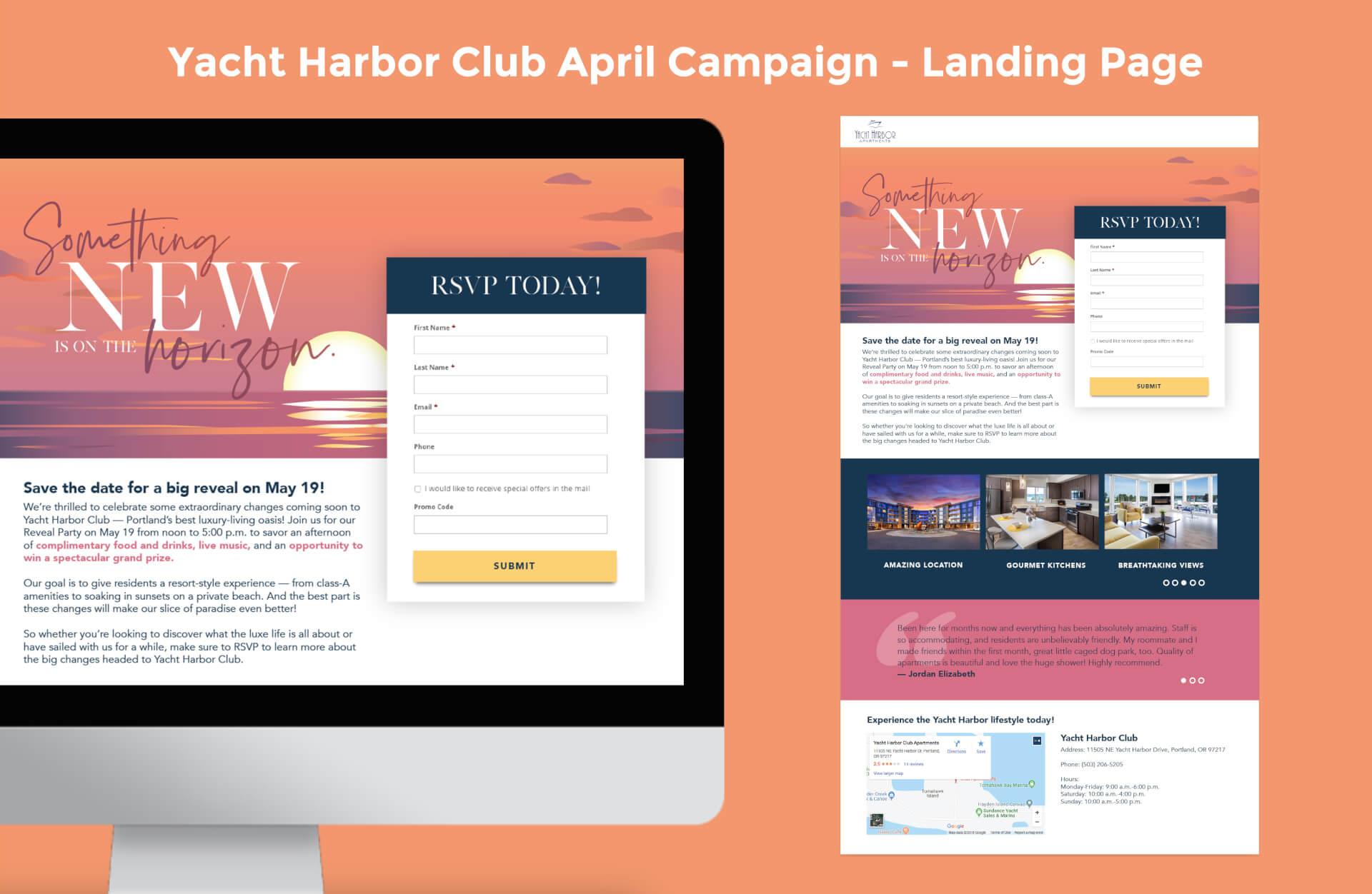 Yacht Harbor Club April Campaign LandingPage