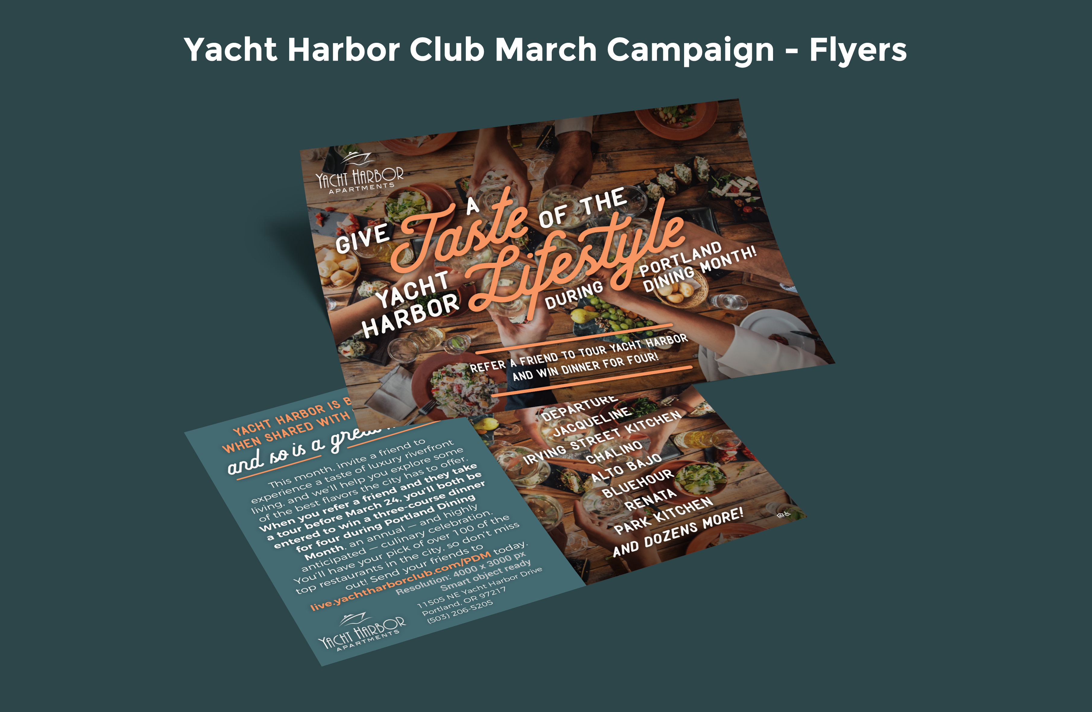 Yacht Harbor Club March Campaign Flyers