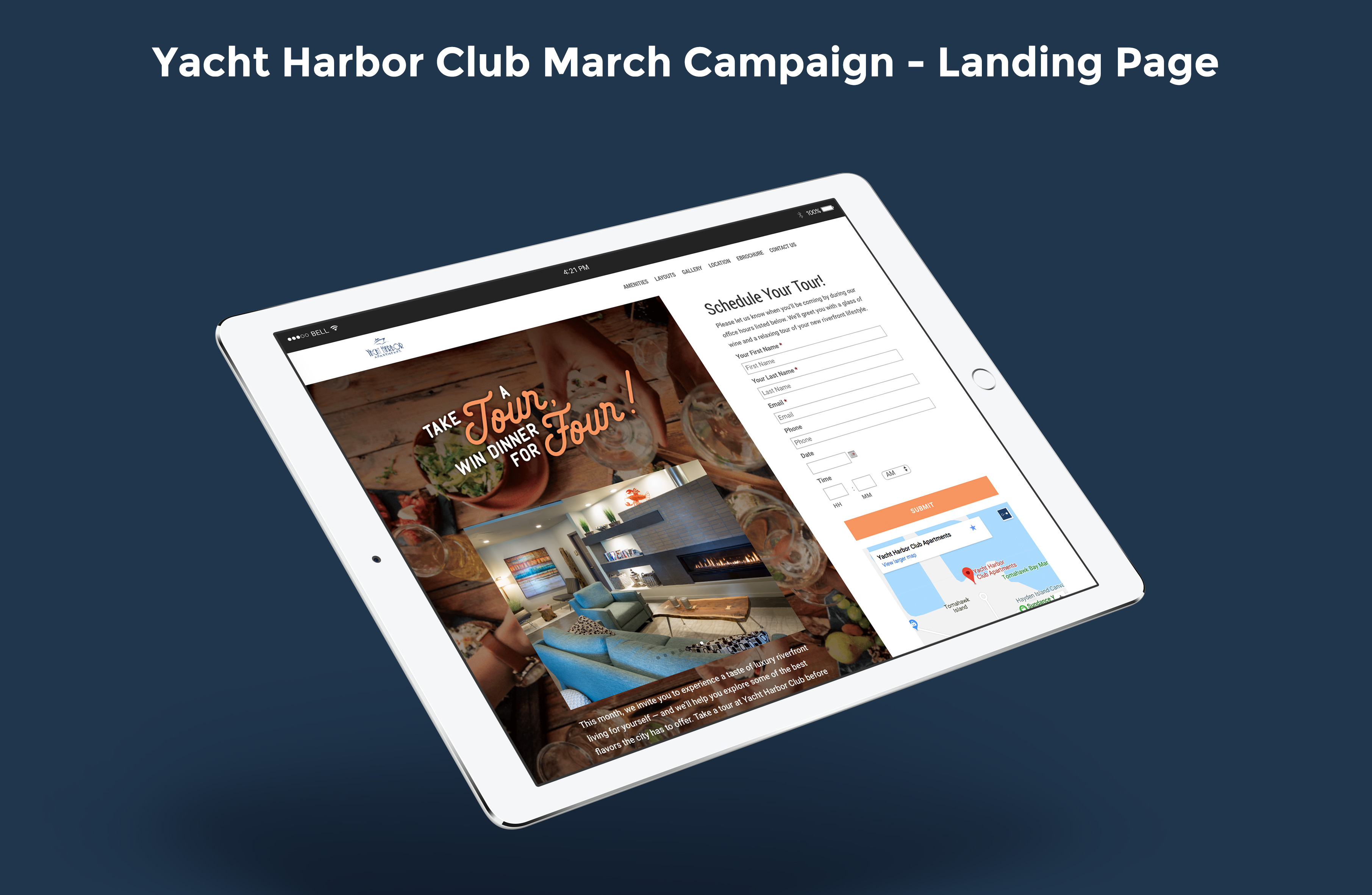 Yacht Harbor Club's March Campaign Landing Page