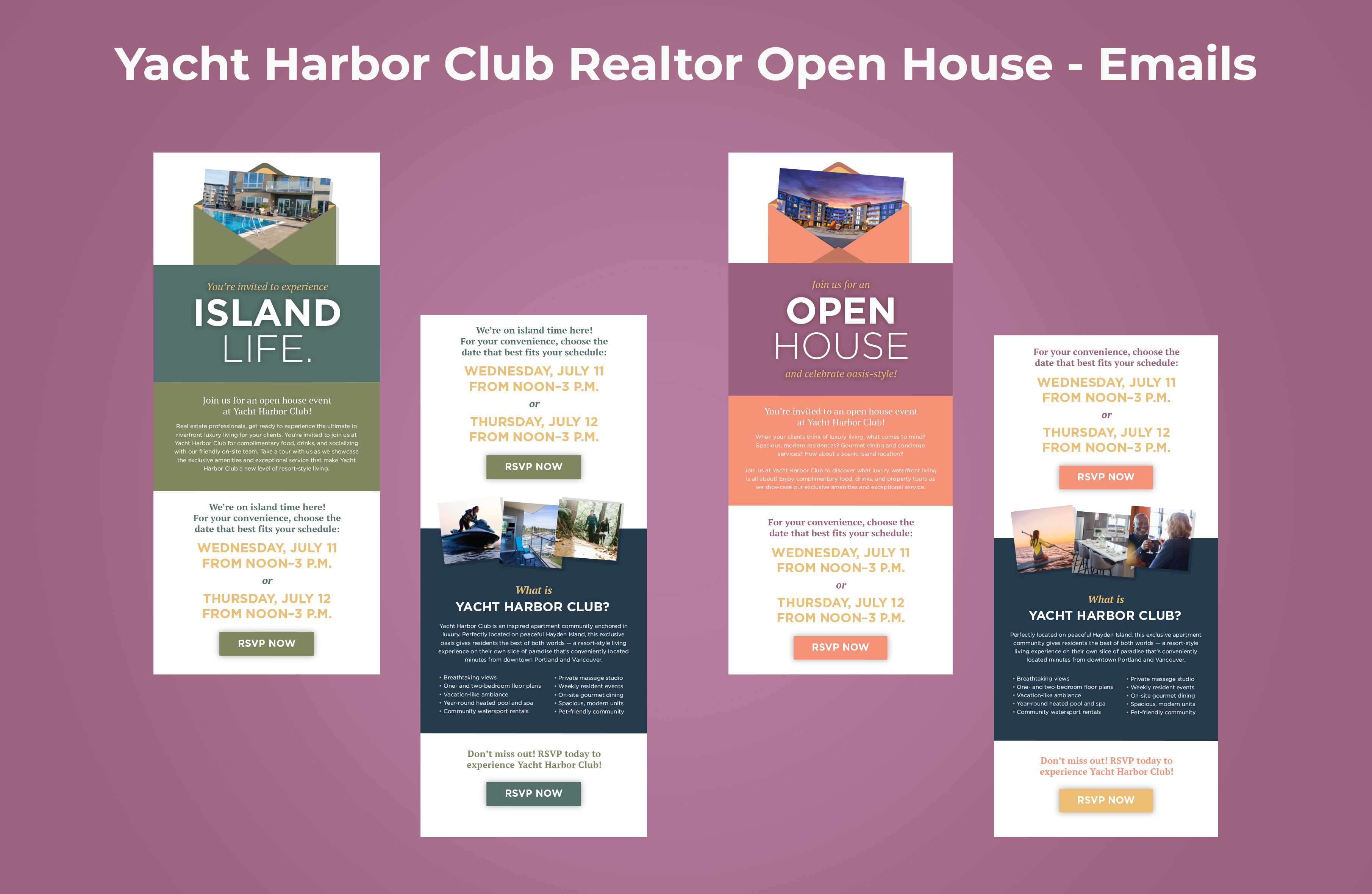 Yacht Harbor Club Realtor Open House Emails Graphic
