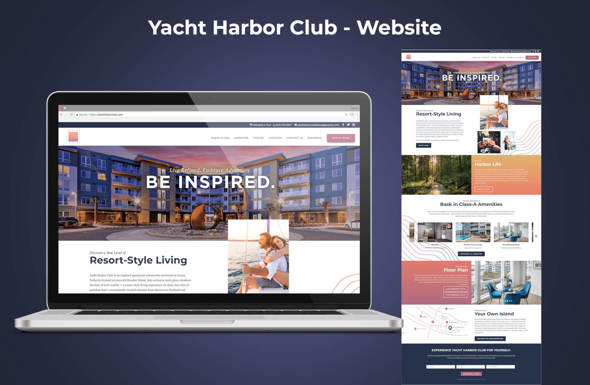 Yacht Harbor Club Website Homepage